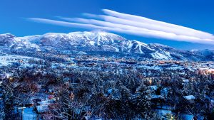 Twilight mountain view of Steamboat, Colorado, USA