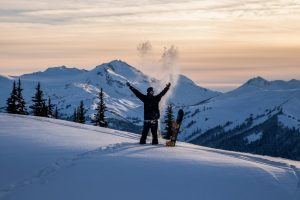 Whistler Blackcomb Snowboarder celebrates powder day