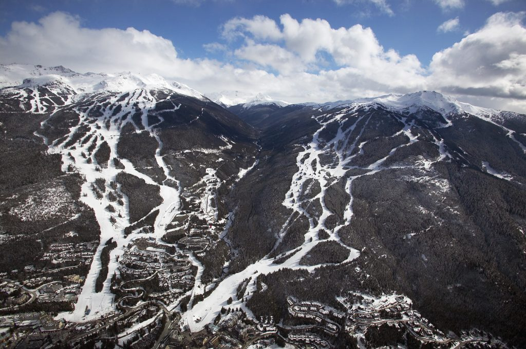 Aerial view of Whistler and Blackcomb mountains