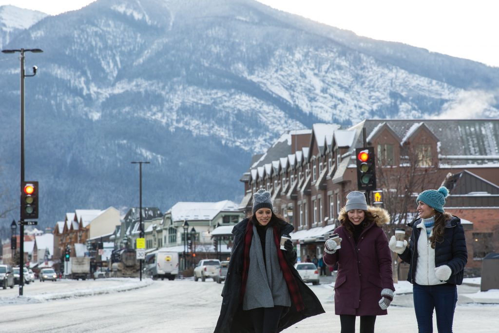 Group of friends in Banff Town