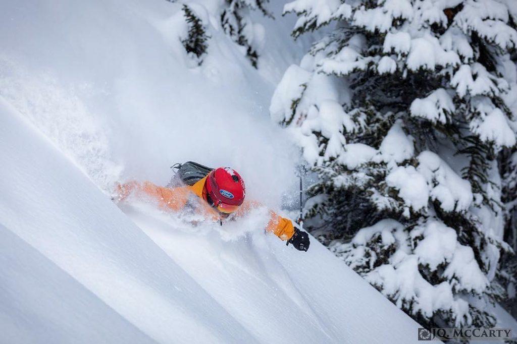 Kicking Horse deep powder skier