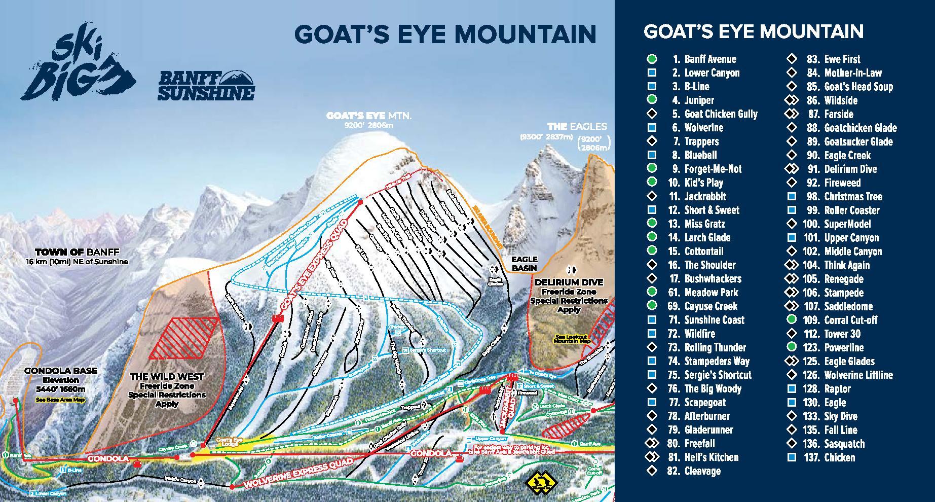 Banff Sunshine Trail Map 1