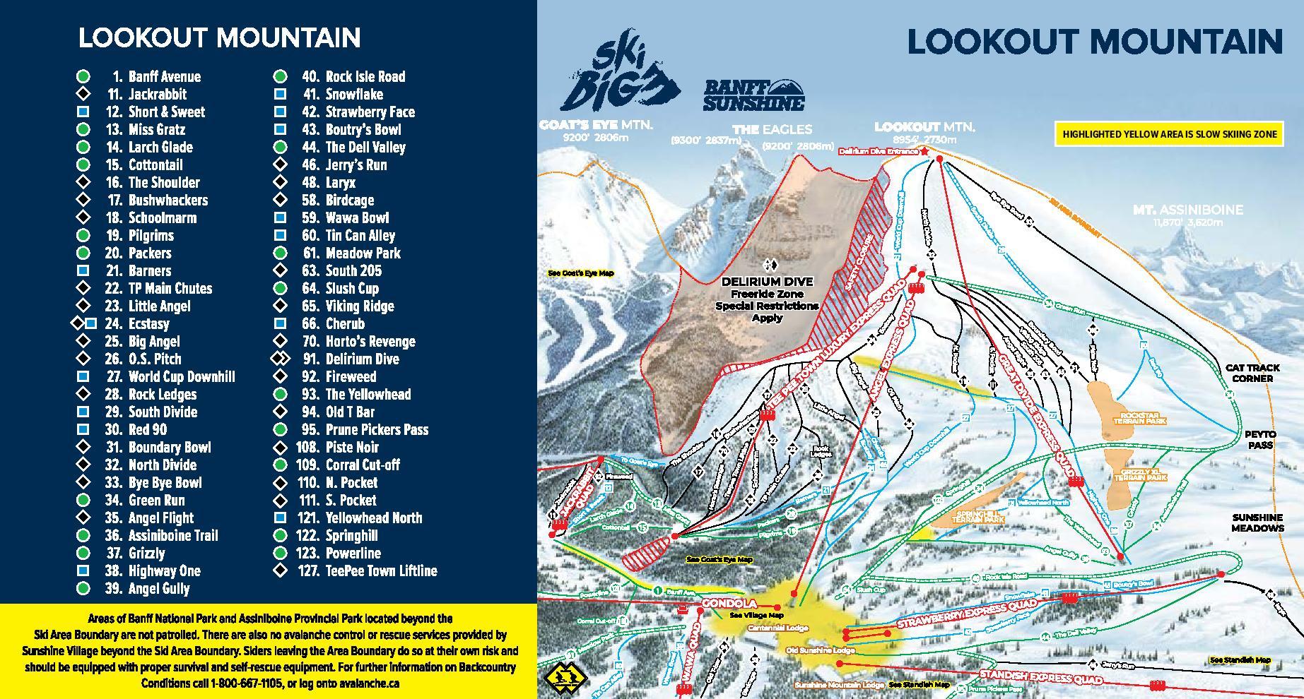 Banff Sunshine Trail Map 2