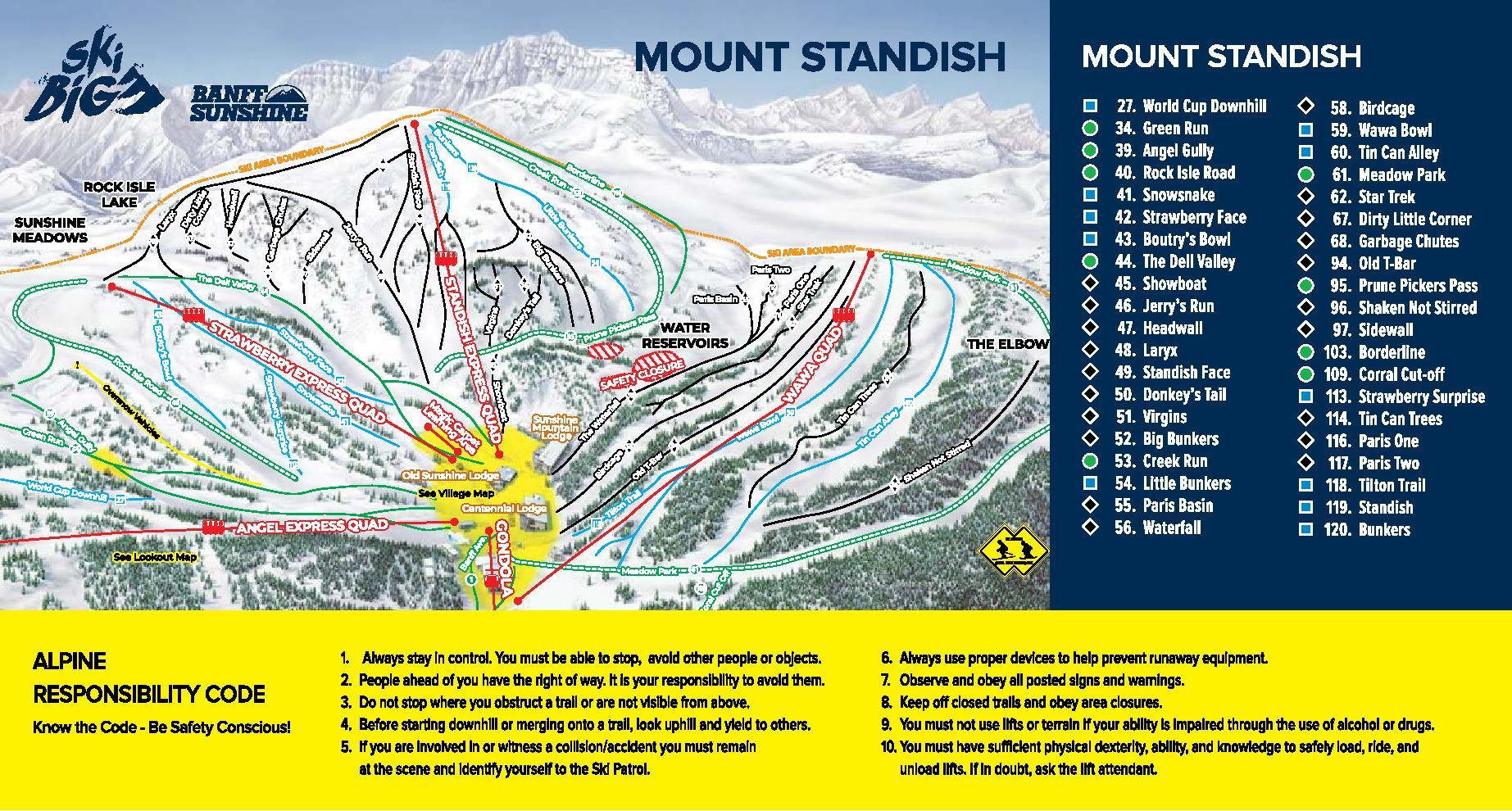 Banff Sunshine Trail Map 3
