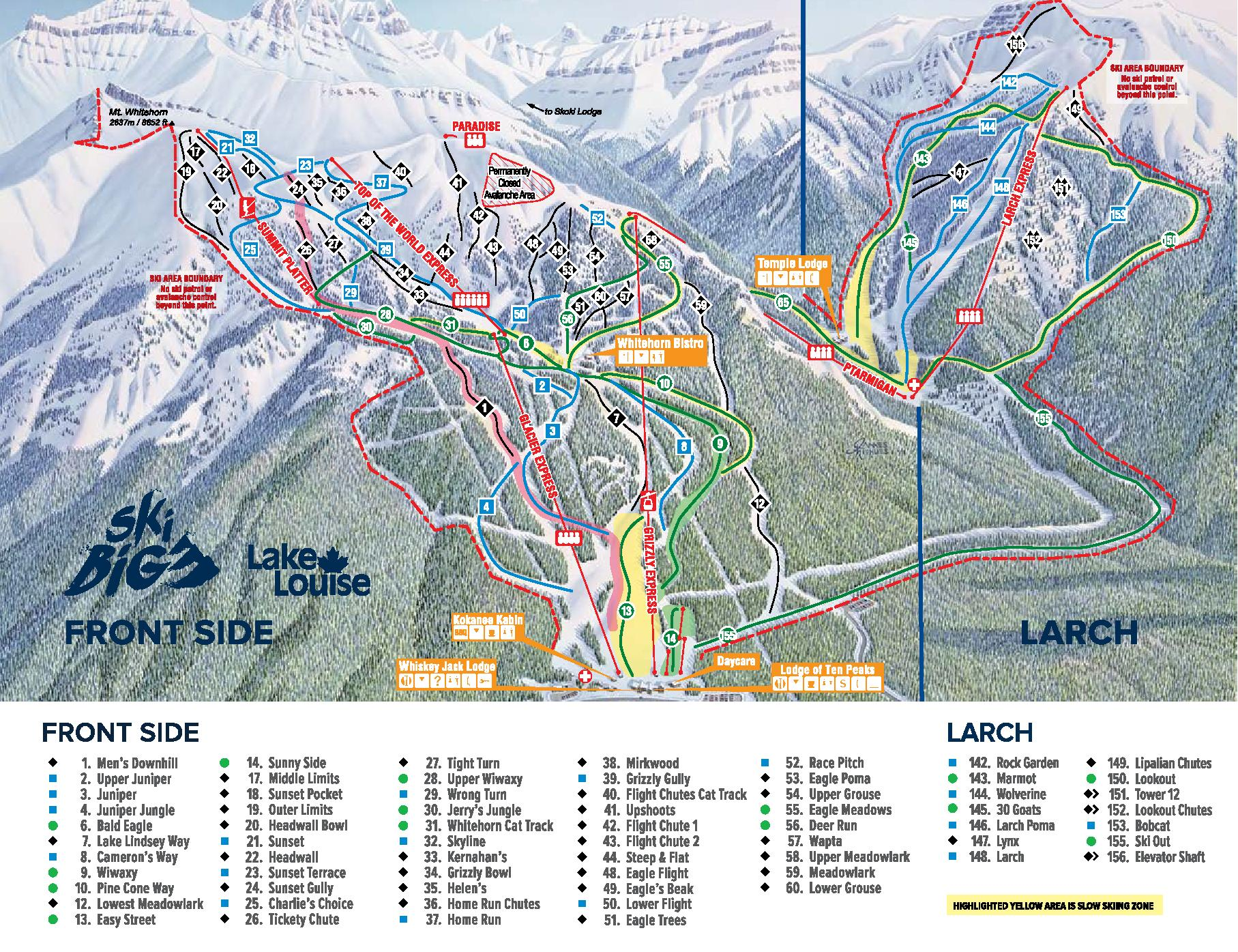 Lake Louise Front Side trail map