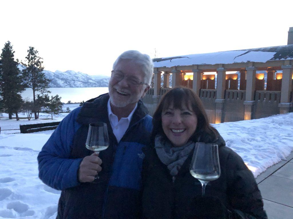Chris & Diane from Tasmania, enjoying a pre-dinner drink at Mission Hill Family Estate during a Private Dining Experience