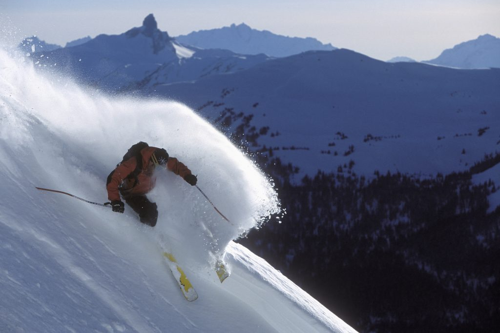 Man skiing in Whistler mountain