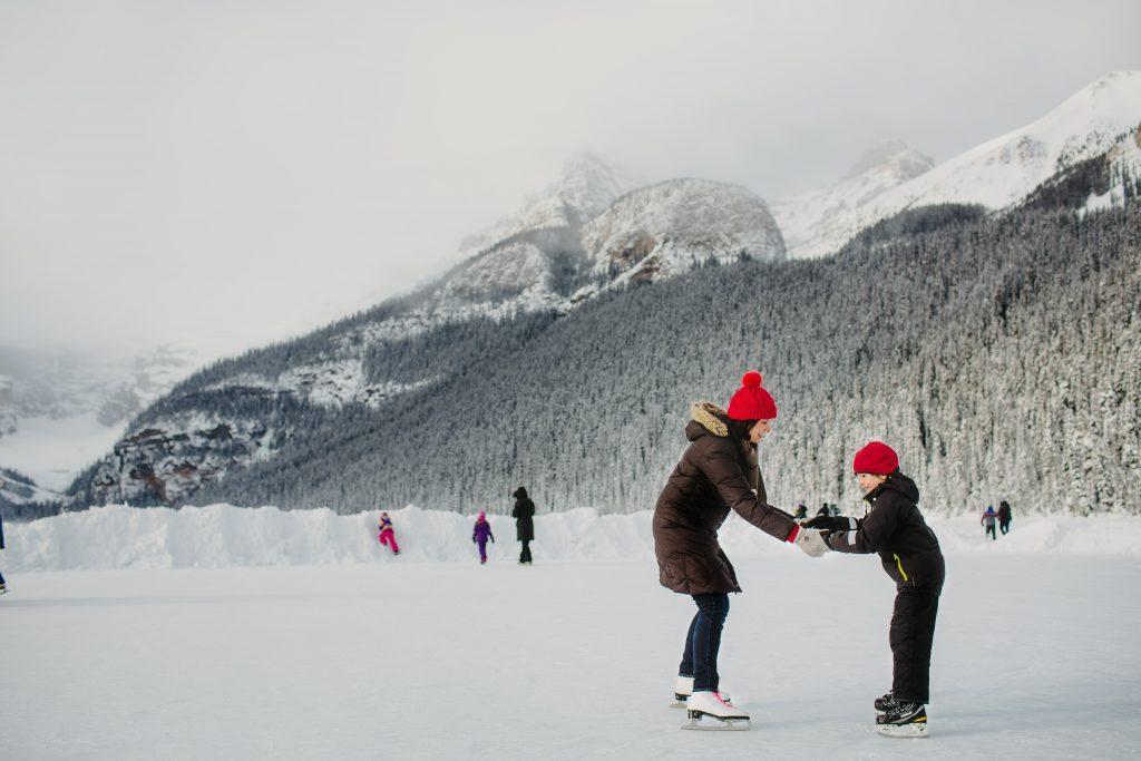 People ice skating at Lake Louise