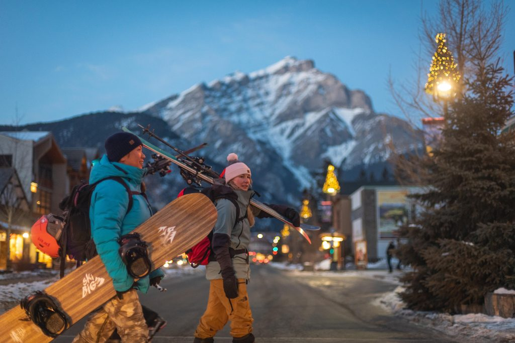 Skiers in Downtown Banff
