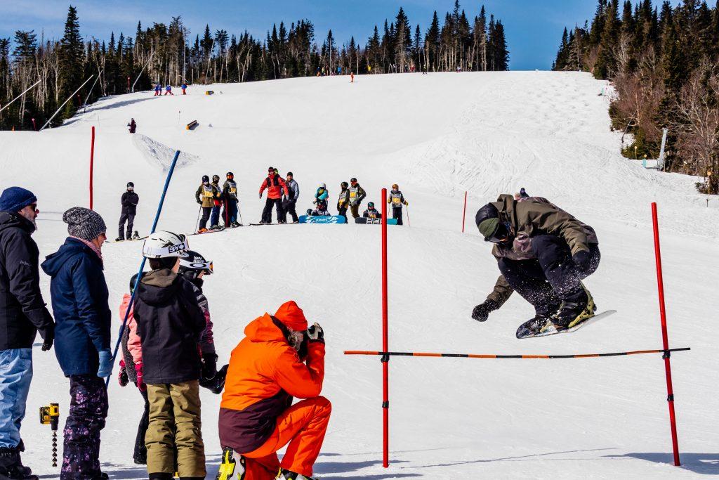 Snowboarding at Le Massif