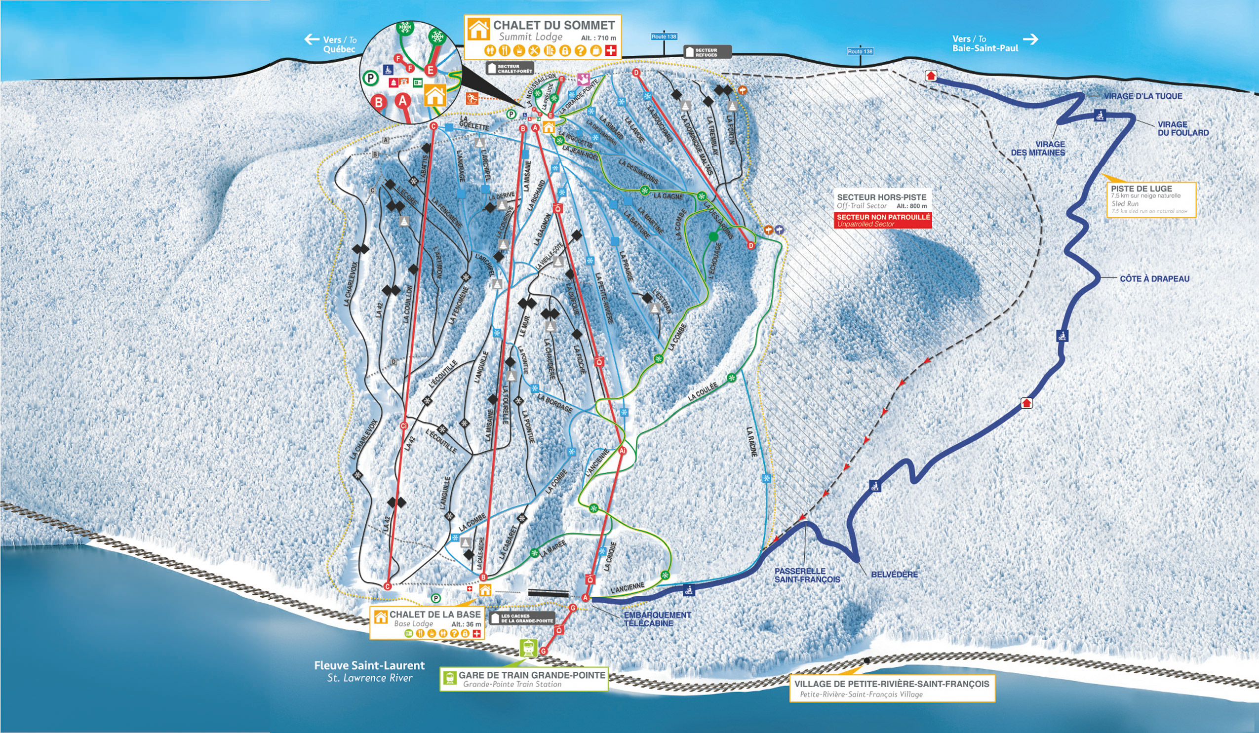 Club Med Charlevoix Trail Map 2020-21